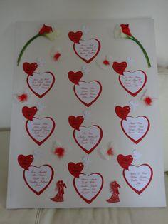 """Plan de tables pour mariage sur le thème de l'amour et des couleurs rouge et blanc """"modèle Amour"""""""