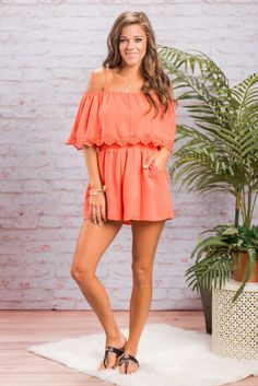 This romper most definitely should be in your summer vacation wardrobe! The coral is perfect for summer and so is the breathable cotton blend fabric! We are in love with that off the shoulder cut, the pockets and all that crochet detailing is so dreamy! The elastic waist keeps the fit very flattering!