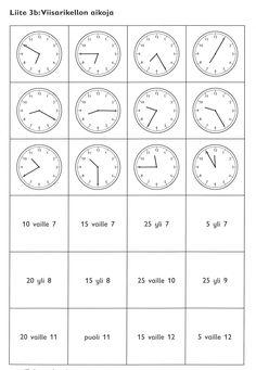 Viisarikellon aikoja. Printable Preschool Worksheets, Second Grade, Kindergarten, Clock, Teaching, Education, Hama, Watch, Kindergartens