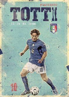 Francesco totti football art, world football, soccer art, retro football, god of Football Italy, Pure Football, God Of Football, Legends Football, National Football Teams, Retro Football, Football Design, World Football, Football Soccer