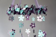 Plum & Aqua Flower Nursery Mobile - Baby Girl Nursery Decor, Baby Shower GIft. $63.00, via Etsy.
