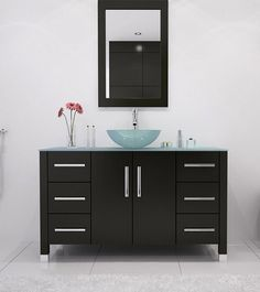 JWH+Living+Grand+Crater+Glass+(single)+47.25-Inch+Espresso+Modern+Bathroom+Vanity $1195