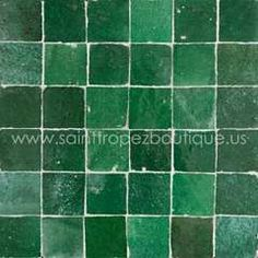 master bath emerald green glazed moroccan tile (in shower enclosure, pelmet and backsplash)