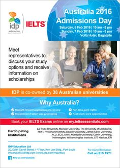 IDP Education Ltd - Australia Admissions Day. Tel: 210 1971