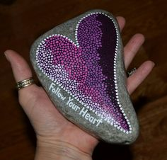 Painted rocks, painted stones, etsy, BeachMemoriesByJools, etsy.com, pointillism, dot art, follow your heart, heart painting