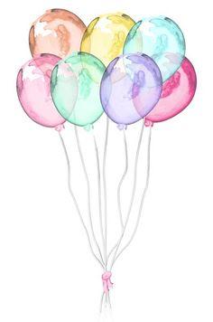 Watercolor Wallpaper, Watercolor Cards, Watercolour Painting, Watercolor Flowers, Cute Wallpapers, Wallpaper Backgrounds, Iphone Wallpaper, Balloon Painting, Cute Drawings