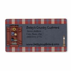 Americana Primitive Country Shipping Label perfect for any country or primitive shop, or for anyone who loves country. Coordinating business card and address label also available.