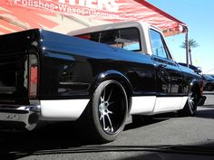 This '70 Chevy C-10, by Arizona's Mega Motorsports, is powered by a 700HP LS2 and rides on RideTech suspension (with air), Baer Brakes, and Mickey Thompson Performance Tires & Wheels Street Comp tires on 20-inch Forgeline GA3C Concave wheels finished with Satin Black/HTM centers and Satin Black outers. See more at: http://www.forgeline.com/customer_gallery_view.php?cvk=1518 #Forgeline #GA3C #notjustanotherprettywheel #madeinUSA #Chevy #Chevrolet #C10 #SEMA2015