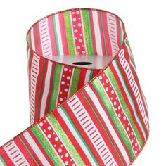 "The Jolly Christmas Shop - 4"" Red and Green Striped Wire Ribbon, $7.99 (http://www.thejollychristmasshop.com/4-red-and-green-striped-wire-ribbon/)"