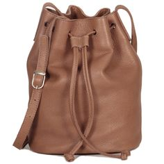 Brown leather bucket bag shoulder leather bag by LeahLerner