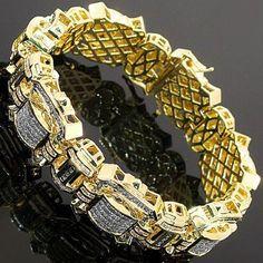 14K-Yellow-Gold-Mens-Diamond-Bracelet-14.54-Ctw