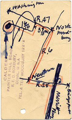 The map drawn by Alexander Calder to direct Marcel Breuer to his house, 1947