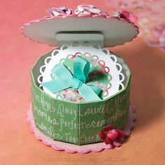 Favor Boxes - This birthday box by Jan Hobbins is truly a sweet, interactive make, using dies by both Eileen Hull and Lori Whitlock. We were definitely inspired seeing this creation by Jan, and can't wait to create one to give to our friends and loved ones on their upcoming birthdays.