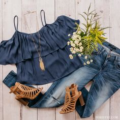 This with a white off the shoulder shirt