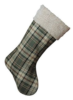 20 Inch Green Plaid Fabric Hanging Christmas Stocking with Sherpa Cuff by Creative Coop -- Check this awesome product by going to the link at the image. (This is an affiliate link) Stocking Holders, Creative Co Op, Plaid Fabric, Holiday Themes, Seasonal Decor, Christmas Stockings, Great Gifts, Green, Amazon