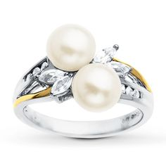 Cultured Pearl Ring Lab-Created Sapphires Sterling Silver I want this one.