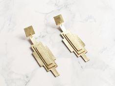Handmade gold leather art deco geometric earrings by BenuShop