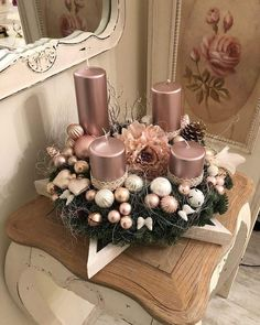 50 Rose Gold Christmas Decor Ideas to make your home a sweet romantic gift . - 50 Rose Gold Christmas Decor Ideas for your home to tell a sweet romantic story – Christmas 2019 - Rose Gold Christmas Decorations, Christmas Candles, Christmas Centerpieces, Xmas Decorations, Christmas Themes, Christmas Wreaths, Christmas Crafts, Christmas Christmas, Rose Gold Christmas Tree