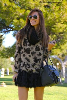 sweater and lace skirt