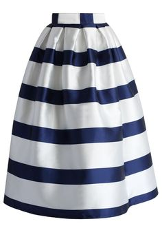 Stripes Full A-line Midi Skirt in Navy - New Arrivals - Retro, Indie and Unique Fashion
