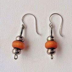 Aarikka Finland Vintage Earrings Light Brown Wood and Metal Beads Dangle  #Aarikka #Beaded