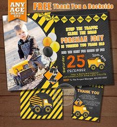 STOP THE TRAFFIC AND CLOSE THE ROAD!! Do you have a big dump truck, mixer, or loves to play in the dirt enthusiast at home thats excited to have a construction birthday party? Then look no further than this built-tough and rugged, yet playful invitation to kick-start the birthday