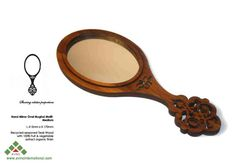 Valentines Day Sale Oval Teak Wood Hand Mirror For her by Avino