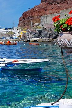Boats at Ammoudi, Santorini