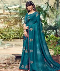Chanderi Silk Saree Chanderi Silk Saree, Silk Sarees, Long Cut, Blouse Online, How To Dye Fabric, Color Shades, Festival Wear, Blue Fabric, Sari