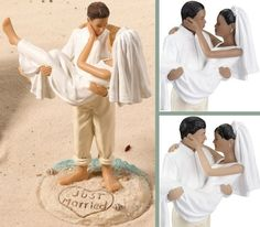 "that depicts a little bit of surf bubbling over a sandy beach strewn with seashells. The words ""Just Married"" have been written in a heart in the sand at the couple's feet! This special Beach Couple Wedding Cake Topper is available in your choice from Caucasian (left), African American (upper right) and Hispanic (lower right) couples."