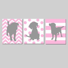 Let's get this nursery decorated! Ordering in brown and hot pink! :) Puppy Dog Trio  Set of Three 11x14 Prints  Kids Wall by Tessyla