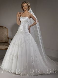 lovely Ball Gown Strapless Ruffles Appliques Wedding Dress - Storedress.com
