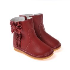 Caroch   Minnie   Red girls boots Stunning Caroch leather toddler girls boots in Red with sweet bow detailing and luxurious faux fur lining.