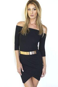 9e9138d2e4f Black Off the Shoulder Wrap Skirt Dress  ustrendy www.ustrendy.com Shoulder  Dress