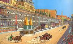 """Au centre de la piste de tous les cirque il y avait une """"spina""""qui empêchait les chars de couper le circuit.elle était souvent décorée de colonnes ou autres objets décoratifs. Clement.l"""
