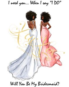 Will You Be my bridesmaid card,  black, african american, brunette, blonde, sketch, Bridesmaid Gift Idea: Multi cultural bridesmaid cards. Will you be my bridesmaid cards.  bridesmaid ,willyoubemybridesmaid gifts, bridesmaid ideas, bridesmaid dresses. Your bridesmaids will love these proposal cards featuring our sketches/ illustrations. Www.lavishlylux.com