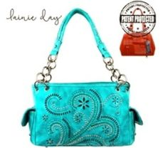 Turquoise Concealed Carry Handbag  Made of PU distressed leather this handbag has:  Swirl pattern on the front  Whipstitch details  Embellished with antique silver studs  A zippered enclosure on the top of the bag  A zippered pocket on the back to conceal the handgun (9 x 5.5)  Inside single compartment divided by a medium zippered pocket  Inside of bag include a zippered pocket and 2 open pockets  A pocket on each side that snap close  An open pocket on the back  Metal feet on the bottom…