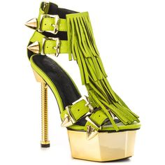 Jennifer Chou Women's Laguna - Lime (5315 TWD) ❤ liked on Polyvore featuring shoes, sandals, high heel platform shoes, lime green shoes, fringe sandals, leather upper shoes and high heel shoes
