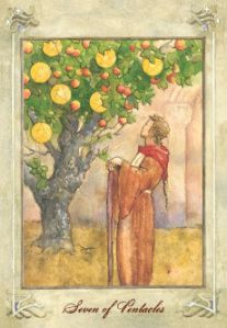 The Seven of Pentacles shows those times when a choice must be made between keeping what you have and trying to get more.