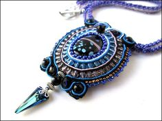 Swarovski Spike Blue Purple Pink Soutache Black Agate Beaded Necklace; this one of a kind necklace is handmade with loving care and attention to detail.  The pendant is created using pink, white, blac