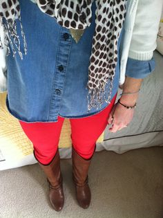 Printed scarf, chambray shirt, red pants, boots