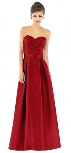 satin long red bridesmaid dress