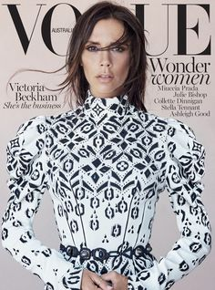 Victoria Beckham, lands another Vogue cover for the August 2015 issue of Vogue Australia. The brunette beauty poses for iconic photographer Patrick Demarchelier sporting a Louis Vuitton's fall 2015 look selected by fashion director Christine Centenera. Vogue Magazine Covers, Vogue Covers, Fashion Cover, Love Fashion, Fashion Design, Paris Fashion, Fashion Beauty, Fashion Tips, Fashion Trends