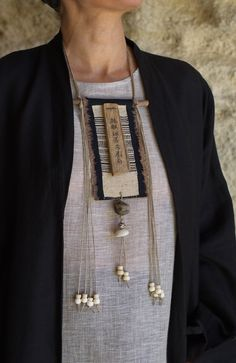 Necklace | One od a kind necklace: vintage linen, ethnic hemp from north Vietnam minorities, upcycled wood with paper calligraphy, old ethnic beads from Africa (clay and bone) | AMALTHEE CREATIONS