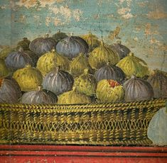 The detail of a fresco from Poppée's villa in Oplontis, shows superb figs, placed in an elegant woven wicker basket. (Figs were one of the most famous agricultural products in the Vesuvius region)… Ancient Roman Houses, Ancient Rome, Ancient Art, Pompeii Italy, Pompeii And Herculaneum, Art Romain, Art Antique, Roman Art, Art Graphique