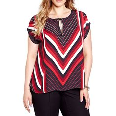 Addition Elle Michel Studio Striped Screen Print Blouse ($62) ❤ liked on Polyvore featuring plus size women's fashion, plus size clothing, plus size tops, plus size blouses, black, striped top, short sleeve pullover, geometric print top, short sleeve tops and short-sleeve blouse