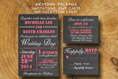 PRINTABLE WEDDING INVITATION package Chalkboard by TheLudwigShop, $19.99