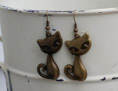 Cool Cat Antique Bronze Dangle Earring by FoxCharmDesigns on Etsy