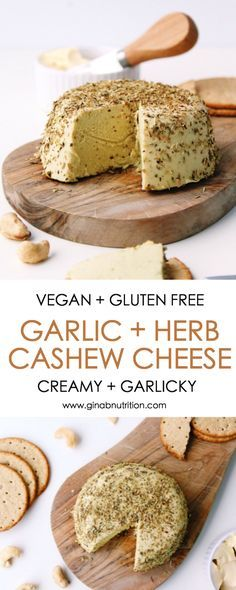 Dairy free - Gluten free - Lactose free - Soy free - Vegan - Sliceable Garlic and herb cashew cheese {vegan, gluten free} - Gina Burgess Nutrition Vegan Cashew Cheese, Vegan Cheese Recipes, Raw Vegan Recipes, Dairy Free Recipes, Vegan Gluten Free, Paleo, Vegan Raw, Cashew Recipes, Nut Cheese