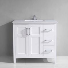 Wyndenhall Salem 36 Inch White Quartz Marble Top Single Sink Bathroom Vanity By Wyndenhall